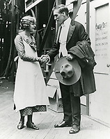 1917 William S. Hart chats with Seena Owens at his studio at 1215 Bates St. in Hollywood