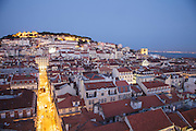 General view of Lisbon  from Santa Justa lift lookout, with Saint George Castle dominating one of Lisbon's seven hills.