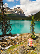 A woman enjoys the view of beautiful, remote Lake O'Hara with Mount Odoray in the background, Yoho National Park, near Field, British Columbia, Canada; MR available