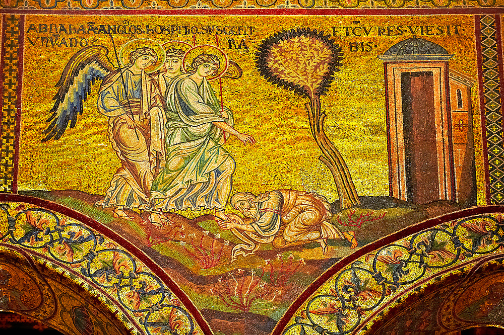 Medieval Byzantine mosaics of Angels appearing to Abraham, Monreale Cathedral, Sicily .<br /> <br /> If you prefer you can also buy from our ALAMY PHOTO LIBRARY  Collection visit : https://www.alamy.com/portfolio/paul-williams-funkystock/monrealeduomomosaics.html. Refine search by adding subject etc  into the LOWER SEARCH WITHIN GALLERY box. <br /> <br /> Visit our BYZANTINE MOSAIC PHOTO COLLECTION for more   photos  to download or buy as prints https://funkystock.photoshelter.com/gallery-collection/Roman-Byzantine-Art-Artefacts-Antiquities-Historic-Sites-Pictures-Images-of/C0000lW_87AclrOk