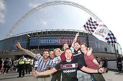 Aston Villa fans pose on Wembley Way during the Sky Bet Championship Final at Wembley Stadium, London.