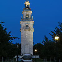 Historic Boston landmark photograph displaying the Dorchester Heights Monument at Thomas Park in South Boston.   <br />