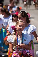 Flower girls in Fiesta Parade, Santa Barbara, California, USA