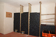 Israel, Upper Galilee, Ramot Naftali, interior of the Naaman winery cellar a small artisan speciality wine producer Bottles of wine resting after the bottling process