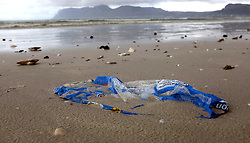 SOUTH AFRICA. Muizenberg. 25.08.18. Sea pollution. A plastic bag washed out of sea on Muizenberg beach . Picture Ian Landsberg/African News Agency (ANA)