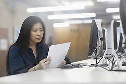 Businesswoman working on computer and reading paper in an office, Freiburg im Breisgau, Baden-W¸rttemberg, Germany