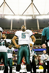 Philadelphia Eagles quarterback Donovan McNabb #5 in the bench area before the NFL game between the Philadelphia Eagles and the Atlanta Falcons on December 7th 2009. The Eagles won 34-7 at The Georgia Dome in Atlanta, Georgia. (Photo By Brian Garfinkel)