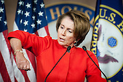 U.S. House of Representatives Minority Leader Nancy Pelosi (D-CA) answers questions from the media during her weekly news conference on Capitol Hill on Thursday. Pelosi accused the Republicans of constantly changing their demands when it comes to extending federal unemployment benefits.