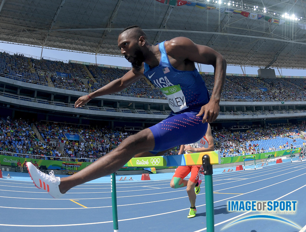 Aug 15, 2016; Rio de Janeiro, Brazil; Michael Tinsley (USA) competes in the men's 400m hurdles athletics event at Estadio Olimpico Joao Havelange during the Rio 2016 Summer Olympic Games.