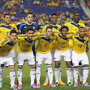 The Colombian team during the Columbia Vs Canada friendly international football match at Red Bull Arena, Harrison, New Jersey. USA. 14th October 2014. Photo Tim Clayton