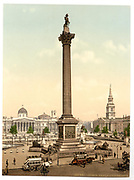 Stunning Old photochrome prints turn back the clock in London <br /> <br /> colourised postcards from the Victorian era,  postcards were made using photochrom - a method of producing colourised photos from negatives<br /> <br /> Photo shows: Trafalgar Square and National Gallery, London, England, between 1890 and 1900<br /> ©Library of Congress/Exclusivepix Media