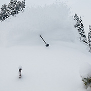 Tanner Flanagan finds the mother load of snow off of the new Teton lift.