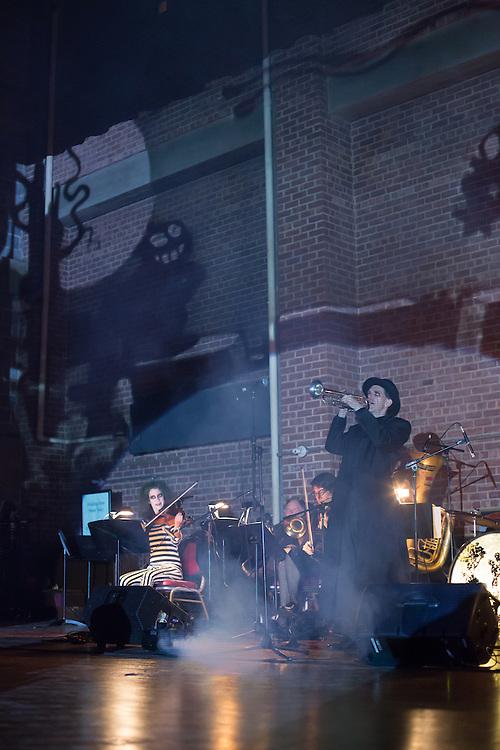 The Ghost Train Orchestra plays swing tunes at the Phantasmagorey Ball.