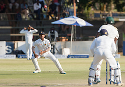 A Sri Lanka player fields a ball during the third day of the 100th test match for Zimbabwe played in a series of two matches with Sri Lanka at Harare Sports Club 31 October 2016.