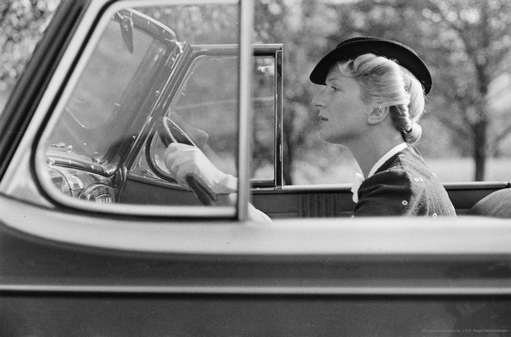 Miss Beiger with Buick car, Edhof, Molln, Austria, 1937