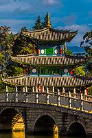 The Suochi Bridge and Deyue Pavilion, Black Dragon Pool Park, Lijiang, Yunnan Province, China.