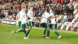 NEWPORT, WALES - Tuesday, November 19, 2019: Wales' Harry Pinchard celebrates scoring his teams first goal with teammates during the UEFA Under-19 Championship Qualifying Group 5 match between Kosovo and Wales at Rodney Parade. (Pic by Laura Malkin/Propaganda)
