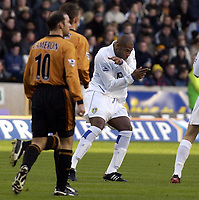 Picture: Henry Browne.<br /> Date: 20/12/2003.<br /> Wolverhampton Wanderers v Leeds United FA Barclaycard Premiership.<br /> Michael Duberry celebrates after scoring the opener for Leeds.