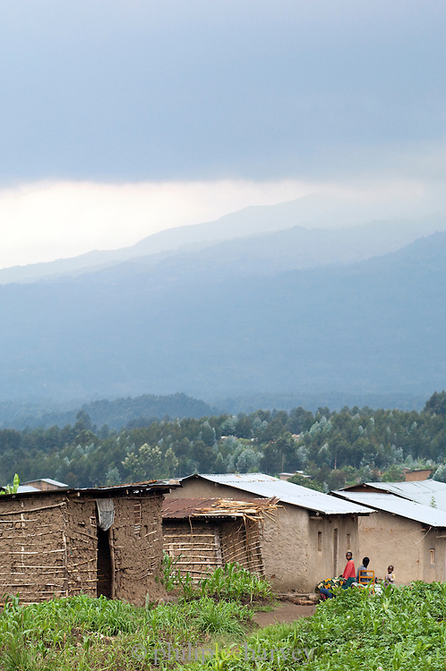 Huts of a local village with hills in the distance, Rwanda