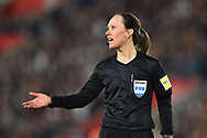 Referee Pernilla Larsson during the FIFA Women's World Cup UEFA Qualifier match between England Ladies and Wales Women at the St Mary's Stadium, Southampton, England on 6 April 2018. Picture by Graham Hunt.