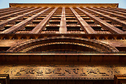 """SHOT 10/20/17 11:53:16 AM - The Guaranty Building, now called the Prudential Building, is an early skyscraper in Buffalo, New York. It was completed in 1896 and was designed by Louis Sullivan and Dankmar Adler.<br /> Sullivan's design for the building was based on his belief that """"form follows function"""". He and Adler divided the building into four zones. The basement was the mechanical and utility area. Since this level was below ground, it did not show on the face of the building. The next zone was the ground-floor zone which was the public areas for street-facing shops, public entrances and lobbies. The third zone was the office floors with identical office cells clustered around the central elevator shafts. The final zone was the terminating zone, consisting of elevator equipment, utilities and a few offices. The supporting steel structure of the building was embellished with terra cotta blocks. Buffalo, N.Y. is the second most populous city in the state of New York and is located in Western New York on the eastern shores of Lake Erie and at the head of the Niagara River. By 1900, Buffalo was the 8th largest city in the country, and went on to become a major railroad hub, the largest grain-milling center in the country and the home of the largest steel-making operation in the world. The latter part of the 20th Century saw a reversal of fortunes: by the year 1990 the city had fallen back below its 1900 population levels. (Photo by Marc Piscotty / © 2017)"""