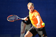 Brydan Klein (GBR) in action during his match against Sam Groth (AUS). The Aegon Open Nottingham 2017, international tennis tournament at the Nottingham tennis centre in Nottingham, Notts , day 4 on Thursday 15th June 2017.<br /> pic by Bradley Collyer, Andrew Orchard sports photography.