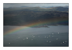 Sailing - The 2007 Bell Lawrie Scottish Series hosted by the Clyde Cruising Club, Tarbert, Loch Fyne..Brilliant first days conditions for racing across the three fleets...Aerial Shot race area and rainbow, Tiso race area.