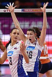 09-01-2016 TUR: European Olympic Qualification Tournament Rusland - Nederland, Ankara<br /> De Nederlandse volleybalsters hebben de finale van het olympisch kwalificatietoernooi tegen Rusland verloren. Oranje boog met 3-1 voor de Europees kampioen (25-21, 22-25, 25-19, 25-20) / Nataliia Obmochaeva #8 of Rusland, Irina Zaryazhko #16 of Rusland