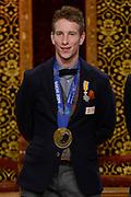 Officiele Huldiging van de Olympische medaillewinnaars Sochi 2014 / Official Ceremony of the Sochi 2014 Olympic medalists.<br /> <br /> Op de foto: Jan Blokhuijsen krigt de onderscheiding van Ridder in de Orde van Oranje-Nassau