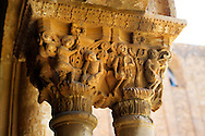 Decorated medieval historicated column capitals in the clositers of Monreale Cathedral - Palermo - Sicily .<br /> <br /> If you prefer you can also buy from our ALAMY PHOTO LIBRARY  Collection visit : https://www.alamy.com/portfolio/paul-williams-funkystock/monrealeduomomosaics.html. Refine search by adding subject etc  into the LOWER SEARCH WITHIN GALLERY box. <br /> <br /> Visit our BYZANTINE MOSAIC PHOTO COLLECTION for more   photos  to download or buy as prints https://funkystock.photoshelter.com/gallery-collection/Roman-Byzantine-Art-Artefacts-Antiquities-Historic-Sites-Pictures-Images-of/C0000lW_87AclrOk