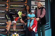 Adam Yates and Mrs Scarponi during the UCI World Tour, Tirreno-Adriatico 2018, Stage 5, Castelraimondo to Filottrano, in Italy, on March 11, 2018 - Photo Laurent Lairys / ProSportsImages / DPPI