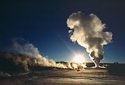 Old Faithful Geyser erupting on a sub-zero October morning, Yellowstone National Park, Wyoming.