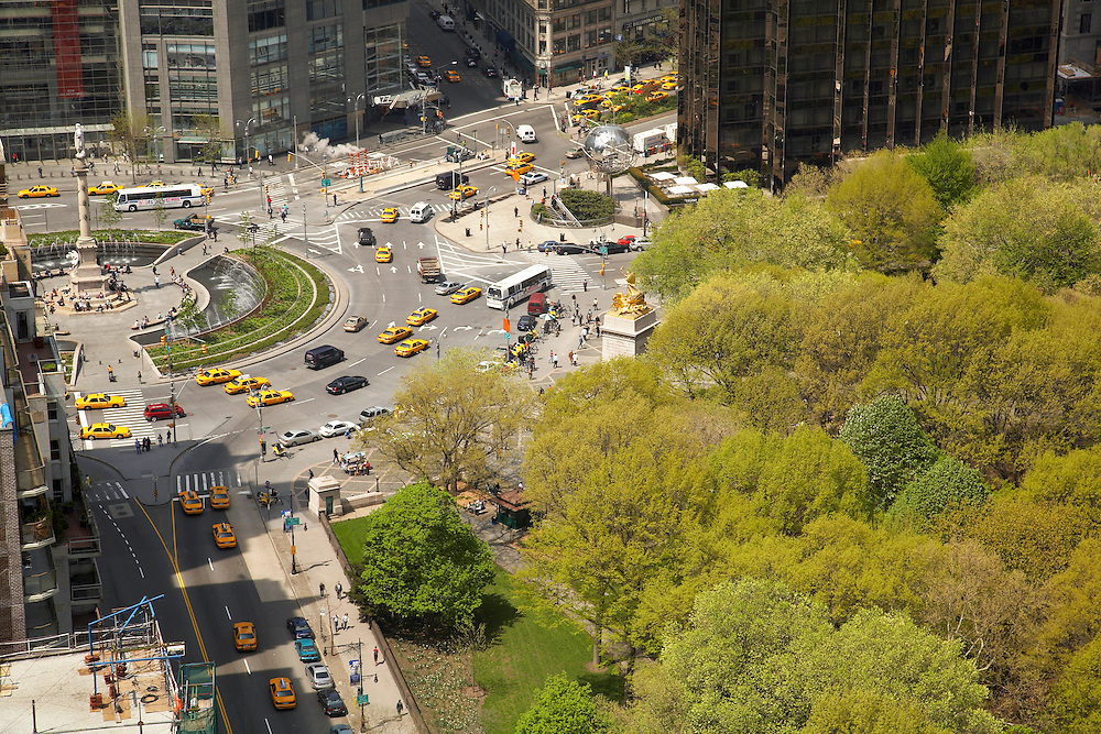 View of Columbus Circle from 160 Central Park South, the Essex House