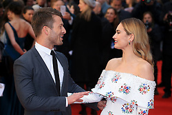 attends The Guernsey Literary and Potato Peel Pie Society world premiere at the Curzon Mayfair in London, UK. 09 Apr 2018 Pictured: Glen Powell and Lily james. Photo credit: Fred Duval / MEGA TheMegaAgency.com +1 888 505 6342
