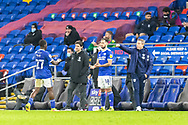 Cardiff City's First Team Manager Neil Harris gestures to his players from the touchline during the EFL Sky Bet Championship match between Cardiff City and Birmingham City at the Cardiff City Stadium, Cardiff, Wales on 16 December 2020.