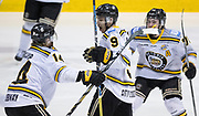 The Victoria Grizzlies celebrate as Keyvan Mokhtari scores the winning goal in double overtime versus the Powell River Kings at the Q Centre in Colwood, British Columbia Canada on March 27, 2017.