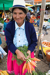 Female vendor at weekly produce market, Gualaceo (near Cuenca), Ecuador, South America