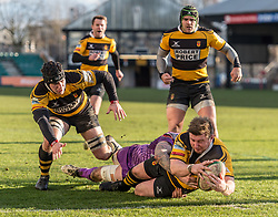 Newport's Nicky Boyce dives over and scores his sides first try.<br /> <br /> Photographer Simon Latham/Replay Images<br /> <br /> Principality Premiership - Newport v Ebbw Vale - Sunday 4th February 2018 - Rodney Parade - Newport<br /> <br /> World Copyright © Replay Images . All rights reserved. info@replayimages.co.uk - http://replayimages.co.uk