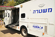 Mobile baggage X-ray unit. Used by the Israeli police to check bags for bombs at gatherings