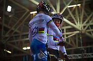 #11 (FIELDS Connor) USA and  #1 (PHILLIPS Liam) GBR at the 2014 UCI BMX Supercross World Cup in Manchester.