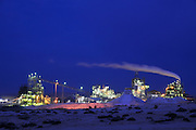 Israel, Aravah, The Mishor Rotem Industrial Park. The Rotem Amfert Negev LTD phosphate plant at night