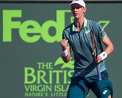 March 29, 2018 - Key Biscayne, Florida, United States - Kevin Anderson, from South Africa, reacts after winning a point against Pablo Carreno Busta, from Spain, during his quarter final match at the Miami Open in Key Biscayne in Miami, on March 29, 2018. (Credit Image: © Manuel Mazzanti/NurPhoto via ZUMA Press)