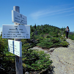 Backpacking on Goose Eye Mountain.  Mahoosuc Range.  White Mountains.  Appalachian Trail.  Northern Forest.  Spring.  Goose Eye Mtn, ME
