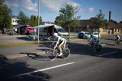 Team Australia riders pedal to the start before the Crescent Vargarda - a 42.5 km team time trial, starting and finishing in Vargarda on August 11, 2017, in Vastra Gotaland, Sweden. (Photo by Balint Hamvas/Velofocus.com)