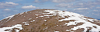 Panoramic view of summit of Cairn Gorm with remaining sping snow, Cairngorms, Scotland
