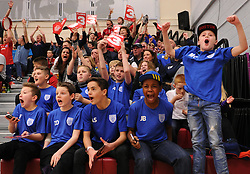 Fans cheer as Bristol Flyers score three points - Photo mandatory by-line: Paul Knight/JMP - Mobile: 07966 386802 - 30/01/2016 - BASKETBALL - SGS Wise Arena - Bristol, England - Bristol Flyers v Leeds Force - British Basketball League