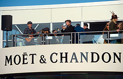 Live music at the Moet and Chandon champagne bar at the November Meeting at Cheltenham Racecourse
