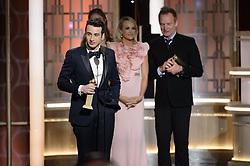 "Jan 8, 2017 - Beverly Hills, California, U.S - The Golden Globe is awarded to JUSTIN HURWITZ for BEST ORIGINAL SCORE – MOTION PICTURE for ""La La Land"" at the 74th Annual Golden Globe Awards at the Beverly Hilton in Beverly Hills, CA on Sunday, January 8, 2017. (Credit Image: ? HFPA/ZUMAPRESS.com)"