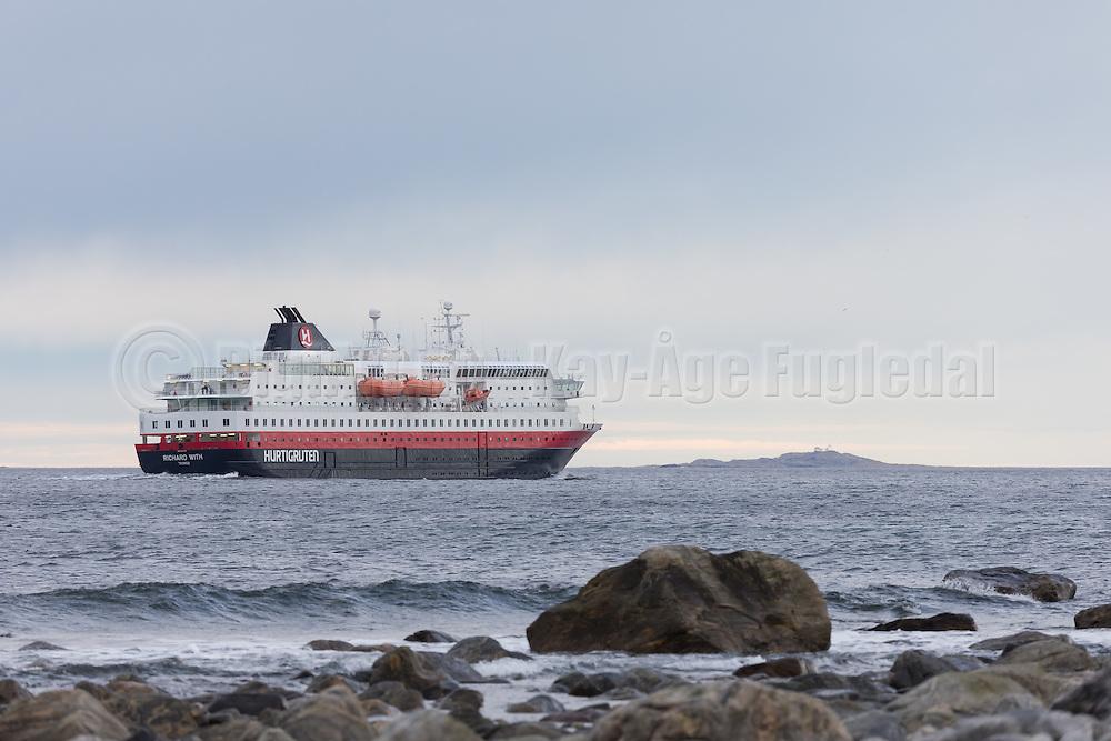 The passenger boat MS Richard With sailing outside Flø, Norway | Hurtigruteskipet MS Richard With seiler forbi Flø, Norge.