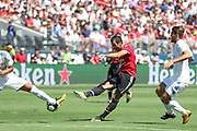 Manchester United Midfielder Henrikh Mkhitaryan shoots at goal during the AON Tour 2017 match between Real Madrid and Manchester United at the Levi's Stadium, Santa Clara, USA on 23 July 2017.